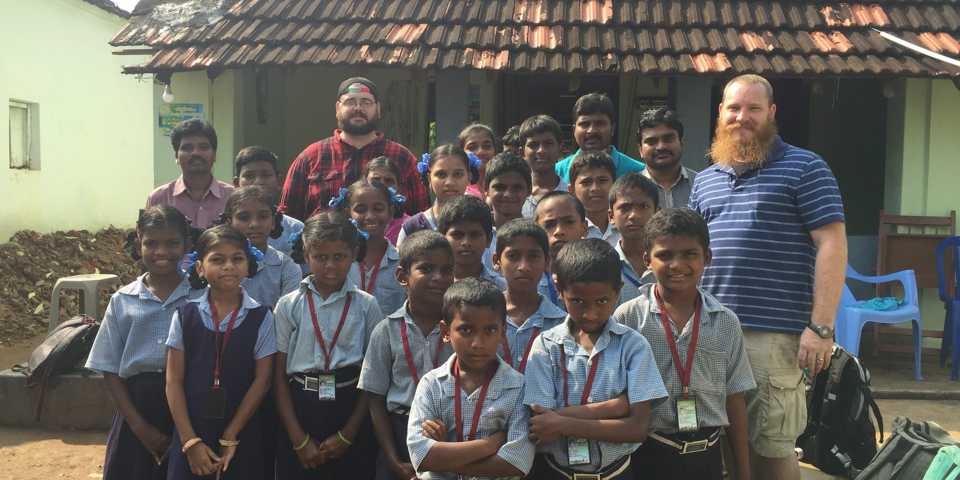 Zach and James with orphans India 2017